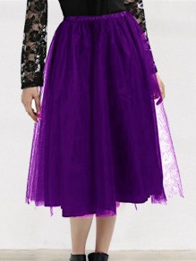 Purple Grenadine Draped High Waisted Elegant Tutu Skirt