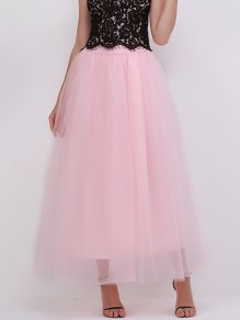 Peach Pink Patchwork Grenadine Pleated High Waisted Fashion Skirt
