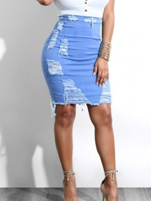 Light Blue Cut Out High Waisted Fashion Skirt