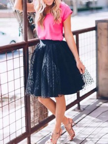 Black Polka Dot Grenadine High Waisted Plus Size Homecoming Skater Tutu Cute Skirt