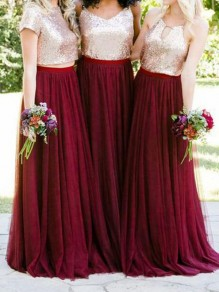 Burgundy Grenadine Pleated Plus Size Floor Length Bridesmaid Party Long Skirt