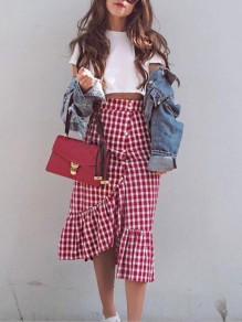 Red-White Buffalo Plaid Irregular Flannel Ruffle Single Breasted High Waisted Midi Skirt
