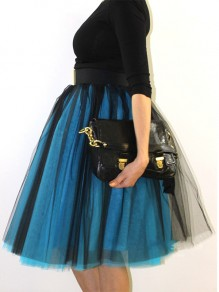 Blue Black Patchwork Grenadine Pleated Fluffy Puffy Tulle Homecoming Party Skirt
