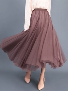 Champagne Patchwork Grenadine Pleated High Waisted Party Skirt