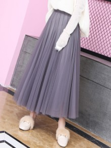 Grey Patchwork Grenadine Pleated High Waisted Party Skirt