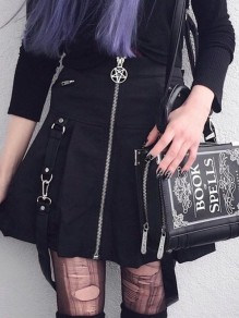 Black Patchwork Irregular Zipper High Waisted A-Line Going out Fashion Skirt