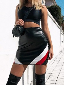 Black Patchwork PU Leather High Waisted Fashion Skirt