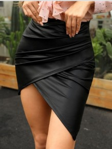 Black Pleated Irregular Bodycon High-Low PU Leather Latex Bubble Vinly High Waisted Party Skirt