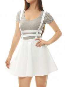 White Cut Out Shoulder-Strap Pleated Zipper Square Neck Sleeveless Elegant Skirt