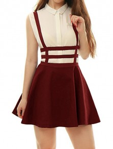 Wine Red Cut Out Shoulder-Strap Pleated Zipper Square Neck Sleeveless Elegant Skirt