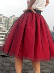 Red Patchwork Puffy Tulle Tiered Elastic Waist Plus Size Sweet Tutu Skirt