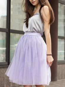 Purple Puffy Tulle Tiered Elastic Waist Plus Size Sweet Tutu Skirt