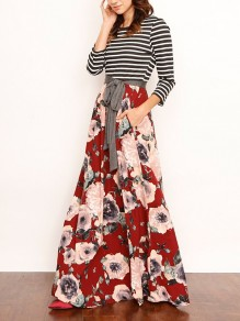 Red Floral Print Patchwork Sashes Elastic Waist Ankle Length Fashion Skirt