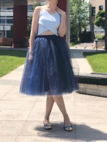 Black Blue Grenadine High Waisted Party Tulle Skirt