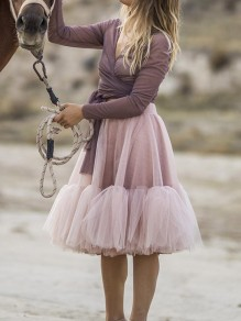 Pink Grenadine Pleated Fluffy Puffy Tulle High Waisted Skirt