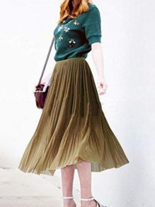 Coffee Patchwork Grenadine Double-deck Flowy Fluffy Puffy Tulle Elegant Skirt