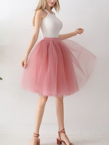 Pink Patchwork Grenadine Double-deck Flowy Fluffy Puffy Tulle Honey Girl Skirt