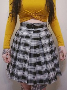 Black-White Plaid Pleated Belt High Waisted Fashion Retro Homecoming Party Mini Skirt