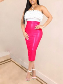 Rose Carmine High Waisted PU Leather Latex Bubble Vinly Patent Party Skirt