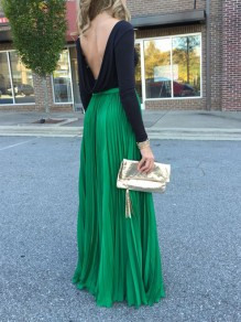 Green Patchwork Pleated High Waisted Bohemian Skirt