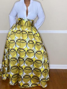 Yellow Tribal Floral Pattern High Waisted Vintage Flare African Style Long Skirt