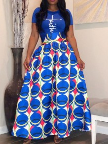 Blue Tribal Floral Pattern High Waisted Vintage Flare African Style Long Skirt