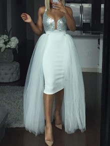 White Grenadine Fluffy Puffy Tulle High Waisted Long Skirt