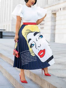 Dark Blue Woman Print Pleated High Waisted Long Skirt