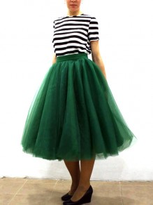 Dark Green Grenadine Pleated High Waisted Tulle Tutu Homecoming Bridesmaid Party Cute Elegant Midi Skirt