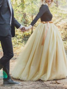 Light Yellow Draped Pleated Grenadine High Waisted Elegant Wedding Gowns Prom Tutu Tulle Maxi Skirt