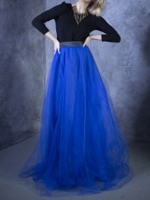 Blue Grenadine Pleated High Waisted Tulle Tutu Homecoming Party Bridesmaid Cute Wedding Elegant Maxi Skirt