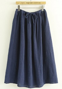 Navy Blue Plain Elastic Waist Ankle Loose Skirt