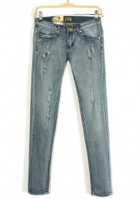 Blue Button Fly Mid Waist Skinny Denim Jeans
