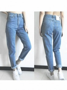 Light Blue Pockets High Waisted Boyfriend 90's jeans Vintage Mom Jeans Cheap
