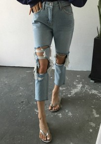 Light Blue Plain Cut Out Mid-rise Fashion Polyester Seven's Jeans