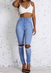 Hellblau Cut Out High Waist Mode Löchern Jeans Damen Röhrenjeans