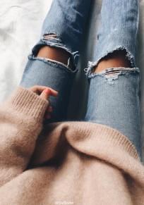 Hellblau Cut Out Zerrissene Knöpfen Lange Jeans Mode Hose Damen Destroyed Röhrenjeans