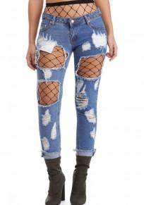 Pantalones largos botones cortados bolsillos cintura baja azul