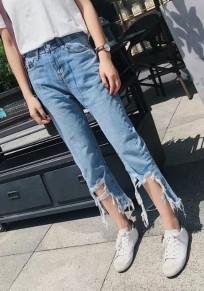 Pantalones vaqueros bolsillos irregulares con cremallera de borla botones casuales azul claro