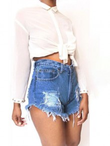 Dark Blue Hollow-out Tassel Buttons High Waisted Ripped Short Jeans