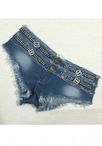 Blue Patchwork Zipper Buttons With Rhinestones Low-rise Short Jeans