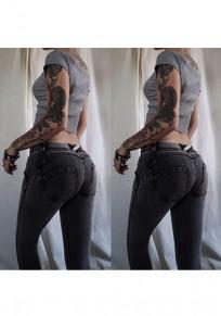 Jeans largos bolsillos botones cortados casuales gris oscuro