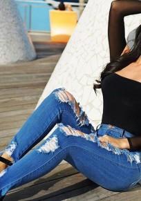 Blaue Taschen Ausschnitt Anstecker Mid-Anstieg Mode Lange Jeans