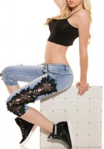 Blue-Black Patchwork Lace Buttons Zipper Pockets Mid-rise Streetwear Seven's?Jeans