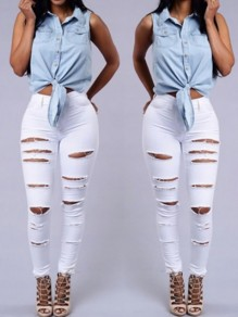 White Zipper Pockets Cut Out Ripped High Waisted Skinny Pencil Long Jeans