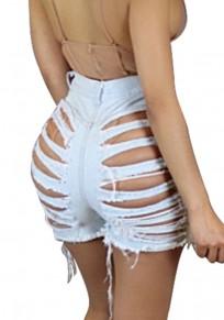 Light Blue Irregular Pockets Zipper Mid Waist Short Jeans