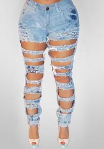 Jeans longues poches découpées boutons taille haute taillés bleus