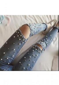 Blau Ebene Cut Out Taschen Knöpfe Perlen Mode Lange Ripped Jeans Damen Mode