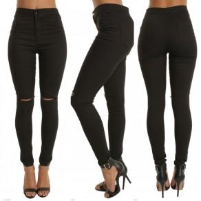 Schwarz Ausgeschnitten Anstecker Reißverschluss Hohe Taille Beiläufig Neun Jeans