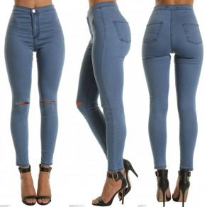 Blau Ausgeschnitten Anstecker Reißverschluss Hohe Taille Beiläufig Neun Jeans
